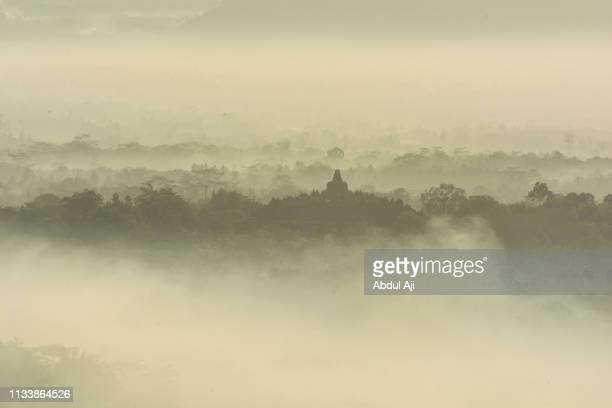 Foggy morning at Borobudur temple, Central Java, Indonesia