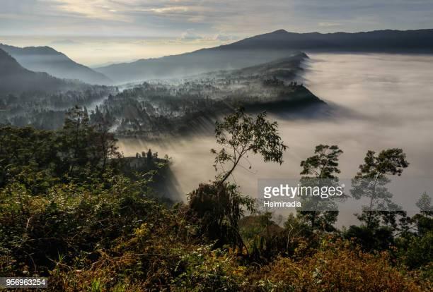 foggy morning at mount bromo - bromo tengger semeru national park stock photos and pictures