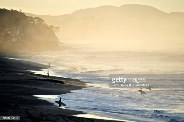 Foggy morning beach in Kamakura city in Kanagawa prefecture in Japan