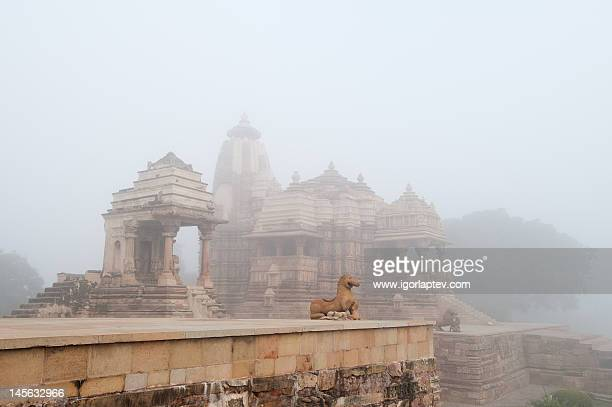 foggy morning in khajuraho temple - www images com stock photos and pictures
