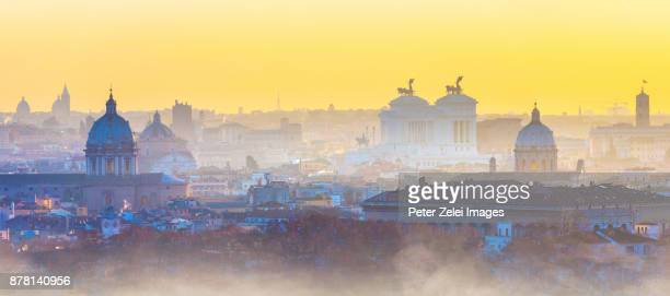 foggy morning in rome, view from view from gianicolo (janiculum) hill - twilight stock pictures, royalty-free photos & images