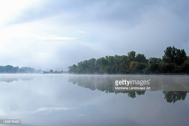 Foggy morning on river