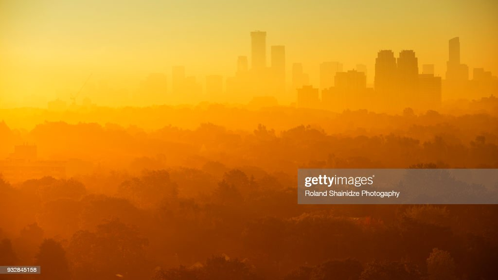 Foggy morning over Toronto's skyline : Stock Photo