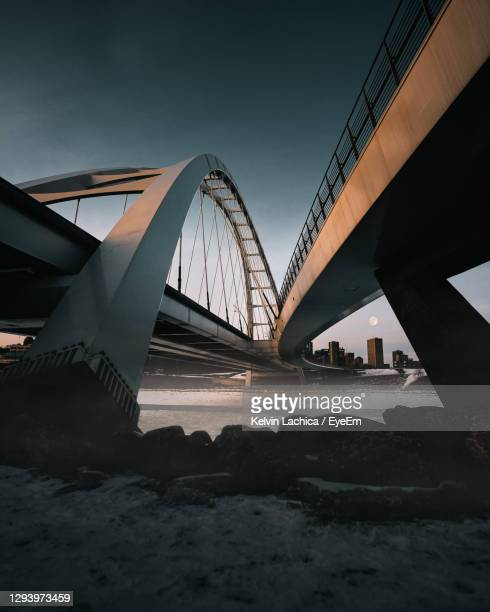 foggy morning under a bridge - edmonton stock pictures, royalty-free photos & images