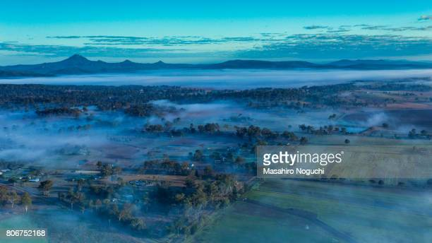 Foggy morning view from the sky in the Scenic Rim Region, Queensland, Australia