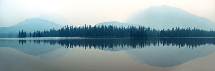 Foggy mountain lake 520746898