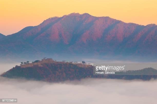 foggy mountain landscape, asago, hyogo, japan - 兵庫県 ストックフォトと画像