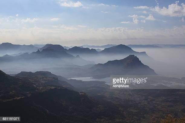 Foggy mountain landscape at sunrise, Maharashtra, India