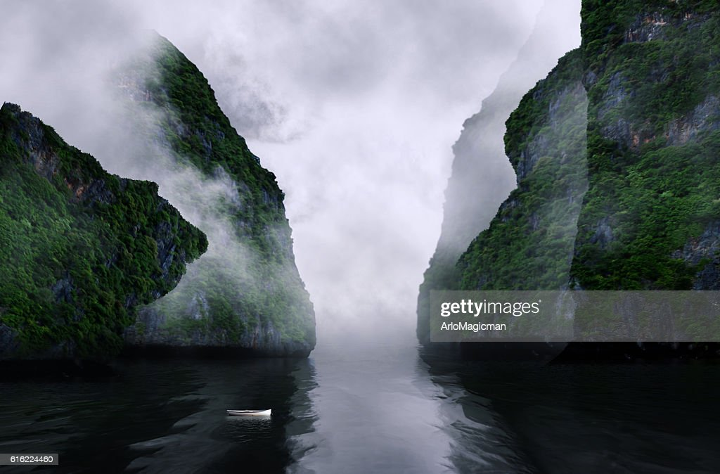 foggy mountain valley : Stock Photo