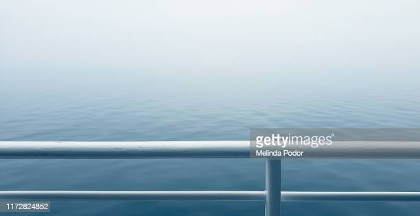 foggy ocean from the deck of a ship - ferry stock pictures, royalty-free photos & images