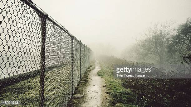 Foggy Path Lined with Chain Link Fence