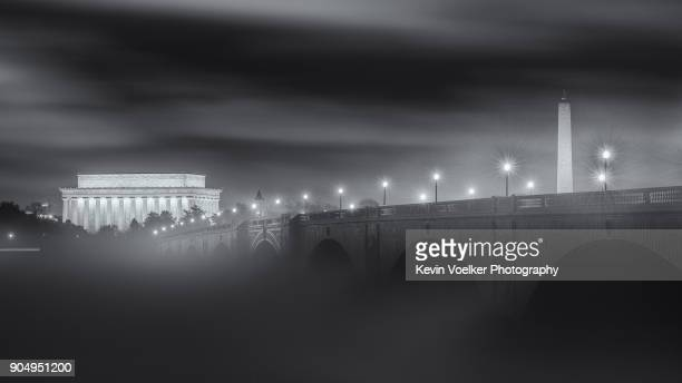 Foggy Potomac River with Lincoln Memorial and Washington Monument