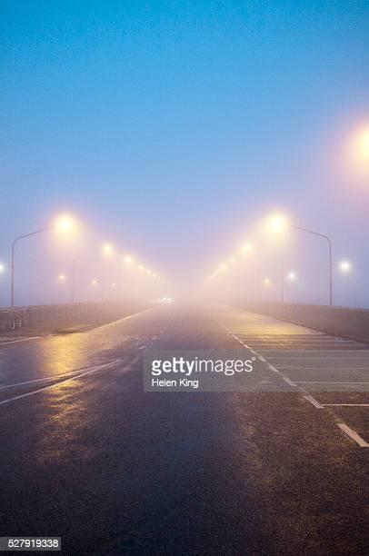 Foggy road at night
