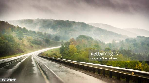 Foggy road in the mountains