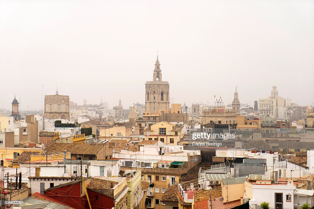 Foggy skyline Valencia : Stock Photo