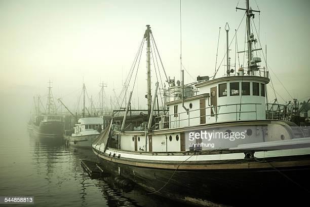 foggy steveston - richmond british columbia stock photos and pictures