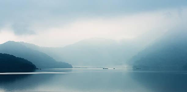 Foggy Sun Moon Lake in the early morning