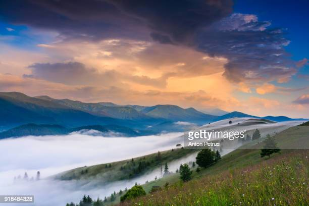 Foggy sunrise in the mountains in summer