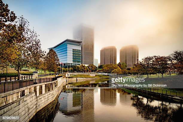 foggy sunrise on the canal - richmond virginia stock pictures, royalty-free photos & images