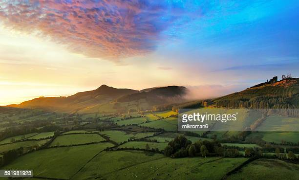 Foggy sunrise over Tipperary mountains,aerial view