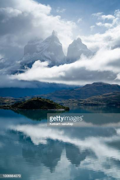 Foggy Torres del paine mountain in Chile.