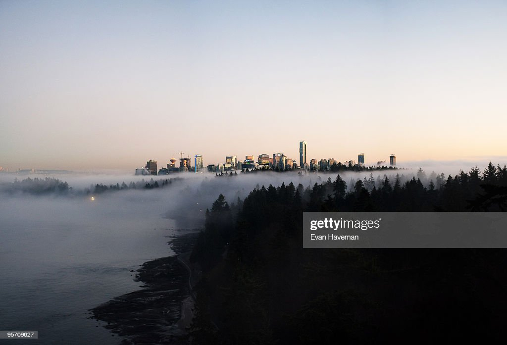Foggy Vancouver Skyline : Stock Photo