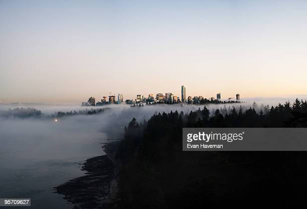 foggy vancouver skyline - stanley park stock photos and pictures