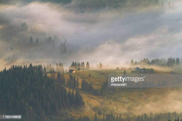 a foggy village in the carpathian mountains, ukraine - ukraine stock pictures, royalty-free photos & images