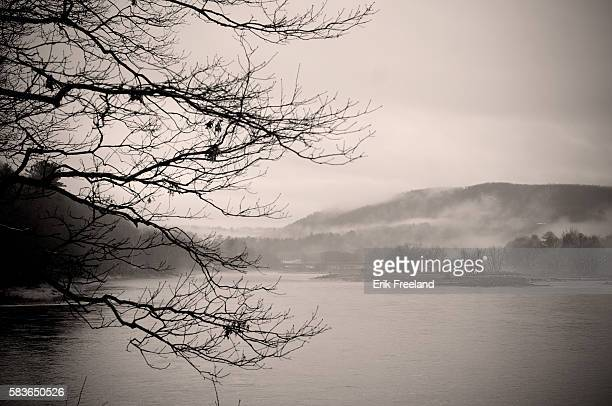 Foggy winter afternoon on the Delaware River in Sullivan County, NY. The river forms the New York - Pennsylvania state borders. | Location:...