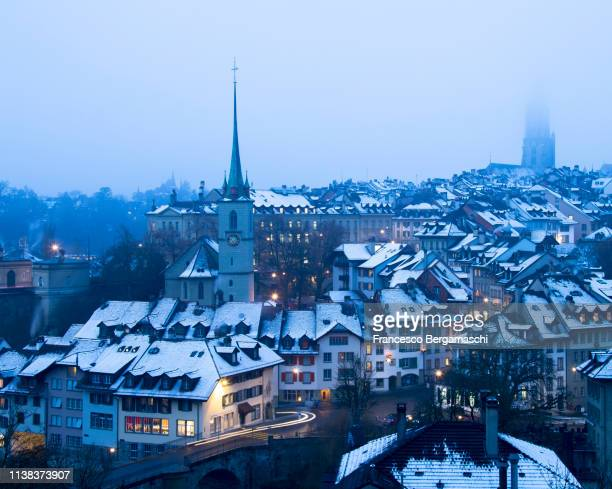 Foggy winter dusk at Bern, Canton of Bern, Switzerland, Europe.