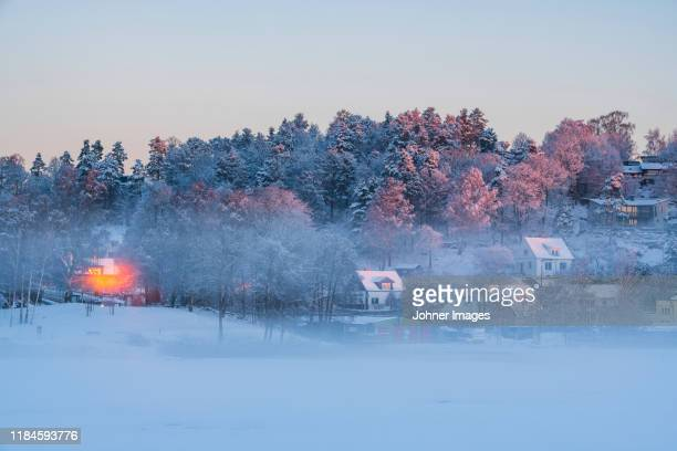 foggy winter landscape - district stock pictures, royalty-free photos & images