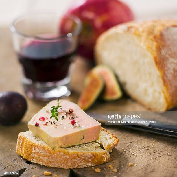 foie gras on a slice of bread - foie gras stock photos and pictures
