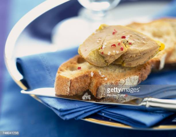 foie gras on bread - foie gras stock photos and pictures