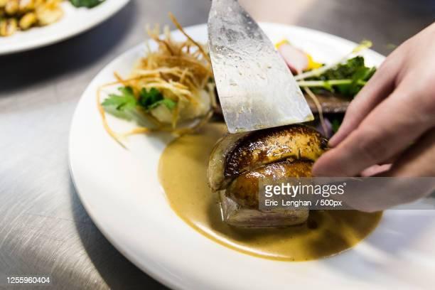 foie gras on plate - gras fotografías e imágenes de stock