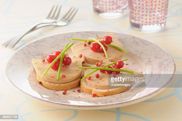 foie gras pate on toast - foie gras stock photos and pictures