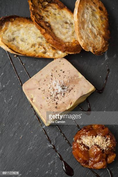 foie gras with rhubarb marmalade - pate stock photos and pictures