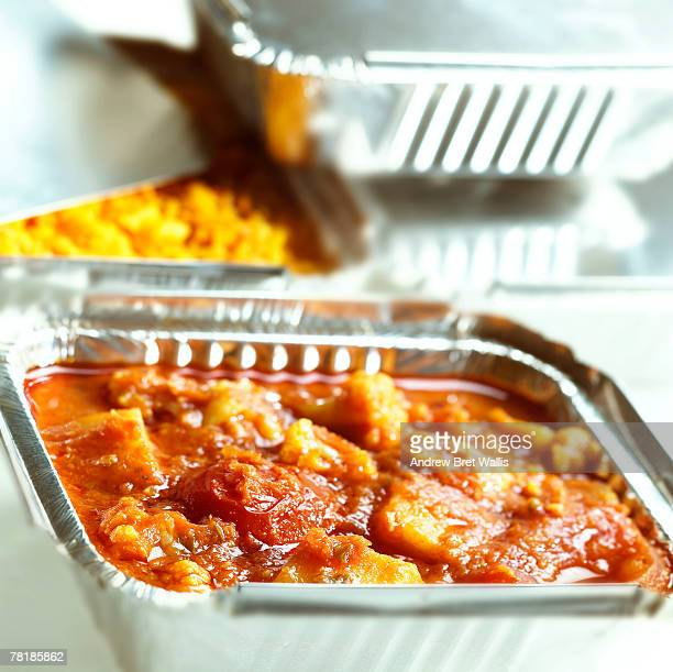 Foil container with food
