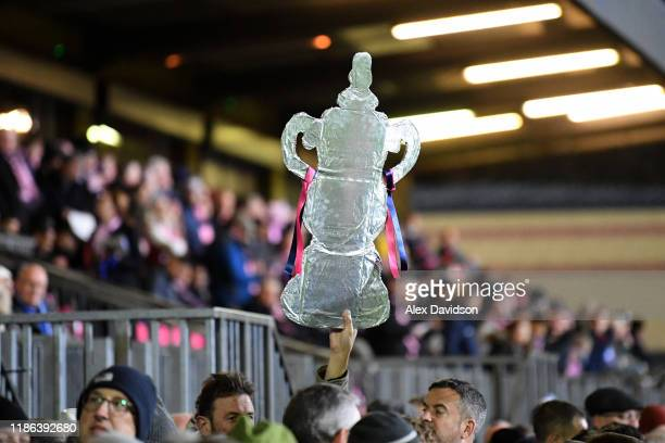Foil replica FA Cup Trophy is seen during the FA Cup First Round match between Dulwich Hamlet and Carlisle United at Champion Hill on November 08,...