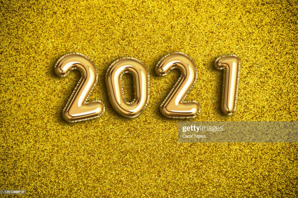 2021 foiled balloon : Stock Photo