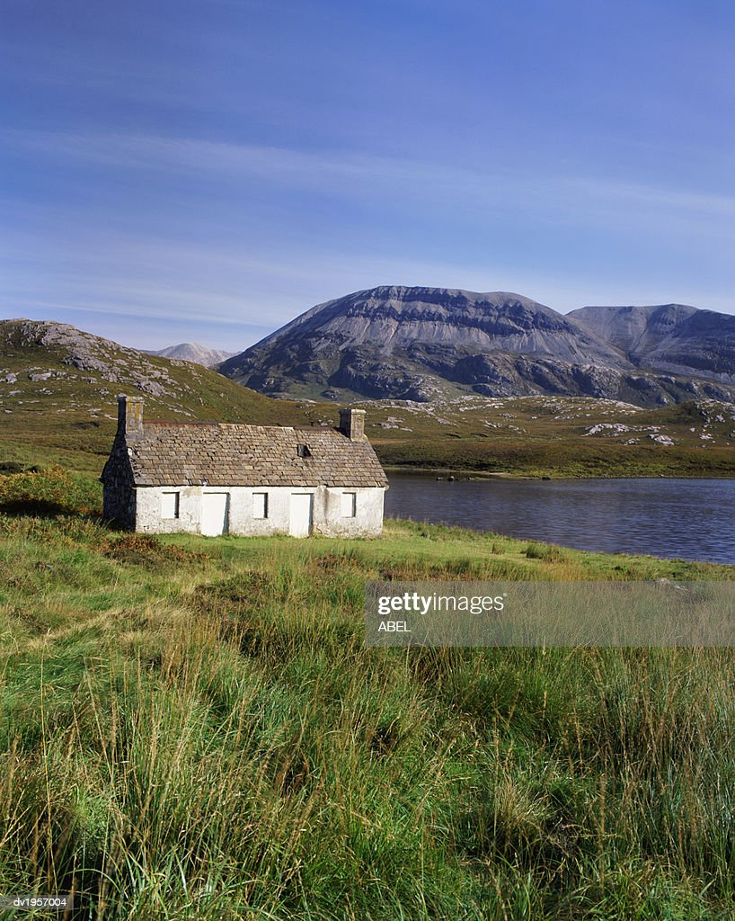 Foinaven and Arkle by Loch Stack, Sutherland, Scotland : Stock Photo