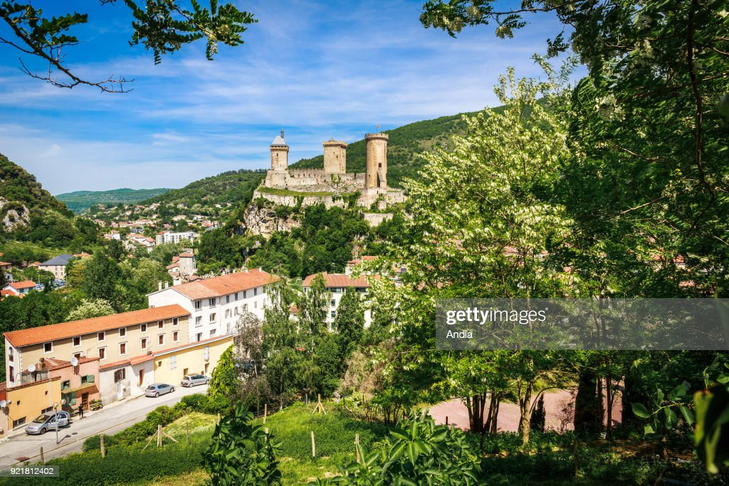 Foix (south-western France), May 2015. Listed as a National Historic Landmark (French 'monument historique') since 1840, the fortress overlooks the town.