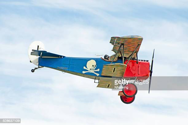Fokker DVII WWI biplane in red and blue paint scheme