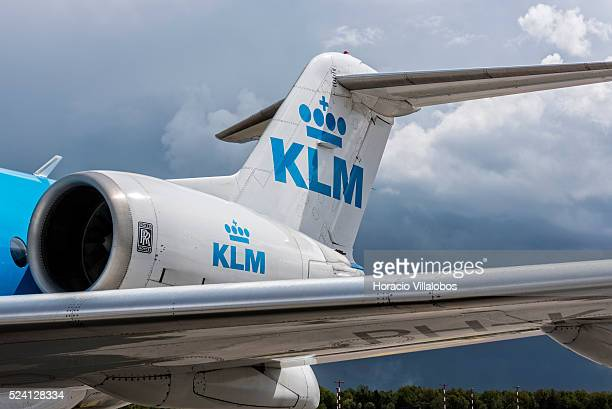 KLM Fokker F70 airplane arrived from Amsterdam at Frankfurt International Airport in Frankfurt Germany 26 April 2015 Amsterdam is one of the most...