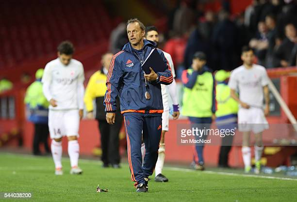 Fola Esch manager Jeff Strasser leaves the pitch during the UEFA Europa League First Qualifying Round First Leg match between Aberdeen and CS Fola...