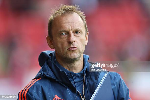 Fola Esch manager Jeff Strasser looks on during the UEFA Europa League First Qualifying Round First Leg match between Aberdeen and CS Fola Esch at...