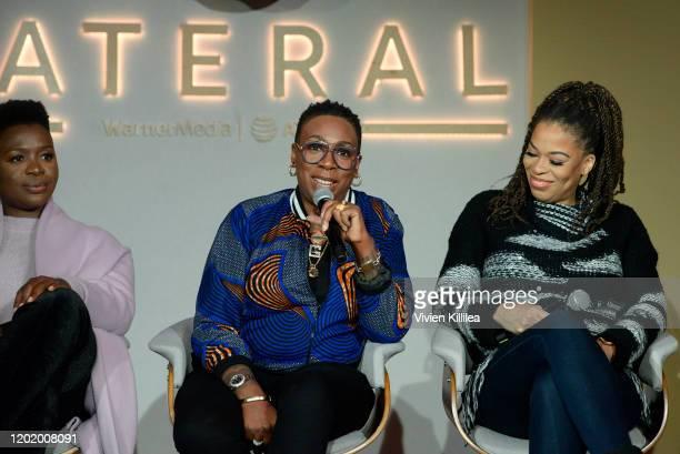 Folake Olowofoyeku Gina Yashere and Nkechi Okoro Carroll attend the Women in Film Panel at Lateral at WarnerMedia Lodge Elevating Storytelling with...