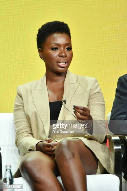 Folake Olowofoyeku of Bob Hearts Abishola speakss during the CBS segment of the 2019 Summer TCA Press Tour at The Beverly Hilton Hotel on August 1...