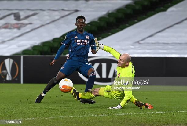 Folarin Balogun of Arsenal scores their sides fourth goal during the UEFA Europa League Group B stage match between Dundalk FC and Arsenal FC at...