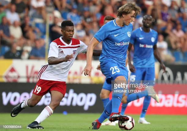 Fola's Gerard Mersch and Genk's Sander Berge fight for the ball during the football match between Belgium's KRC Genk and Luxembourg's Sporting Circle...