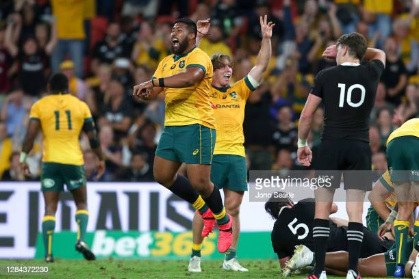 Folau Fainga'a celebrates his teams try during the 2020 Tri-Nations match between the Australian Wallabies and the New Zealand All Blacks at Suncorp...